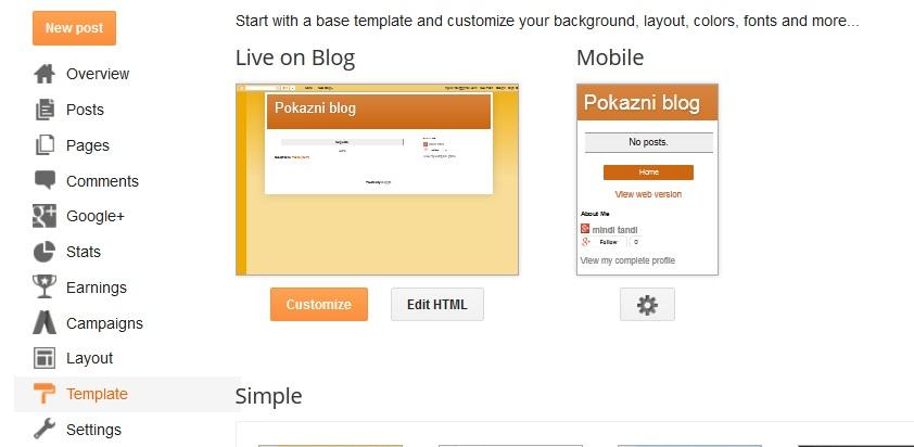 izbor promjena teme blogger google blog